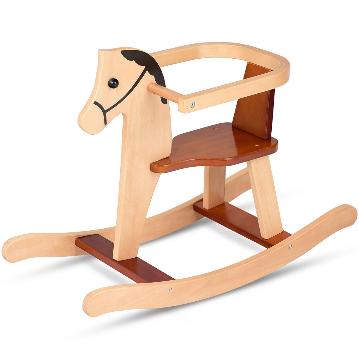Picture of: Baby Wooden Rocking Horse Rider Chair With Security Bar 11 5ftpatiogazebotentweddingpartyawningmosquitonettingcanopy