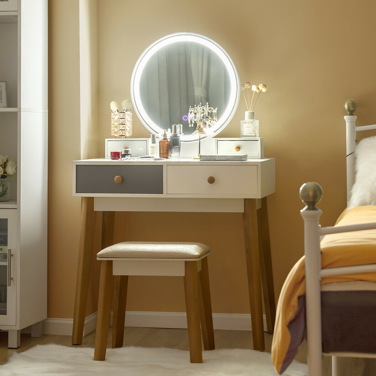 Image of Makeup Dressing Table with 4 Drawers and Lighted Mirror
