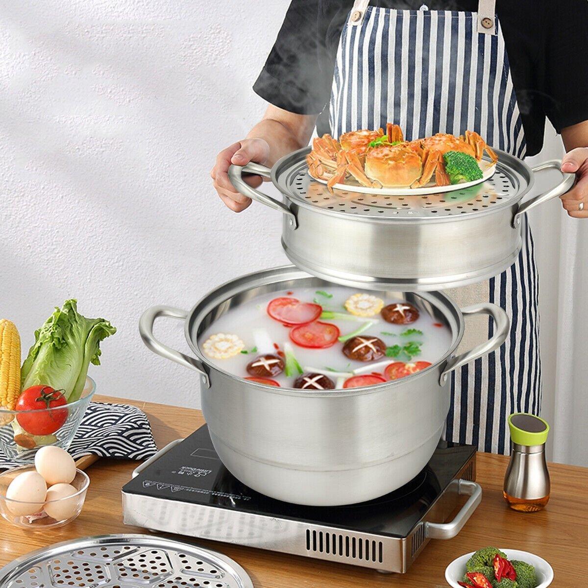 Image of 3 Tier Stainless Steel Cookware Pot Saucepot Steamer