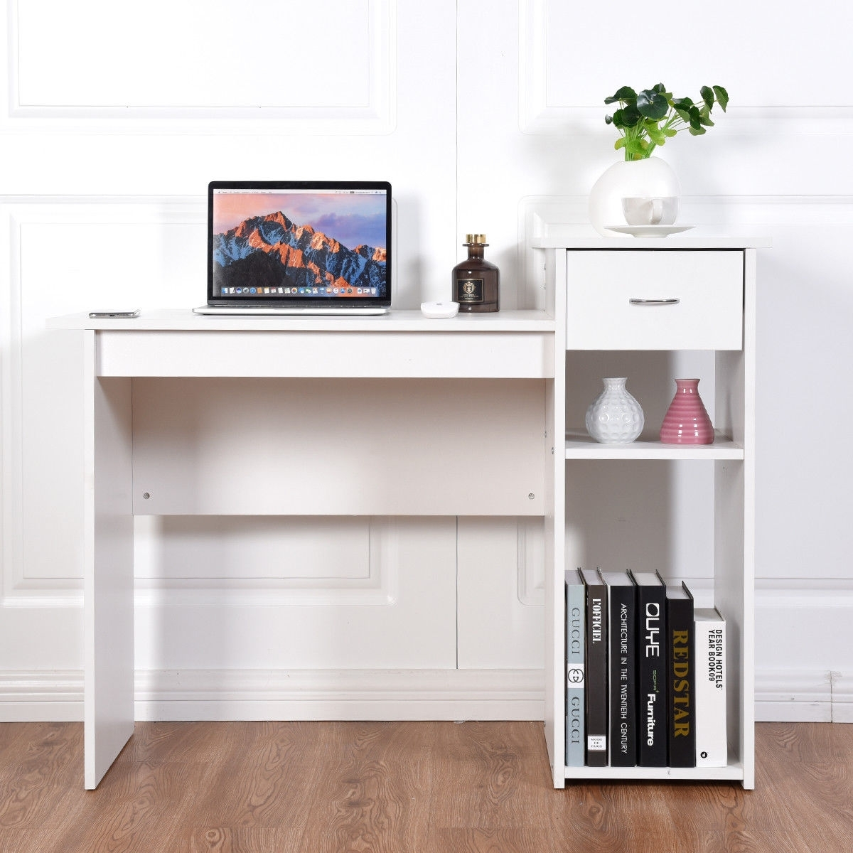 Image of Computer Desk PC Laptop Table with Drawer and Shelf