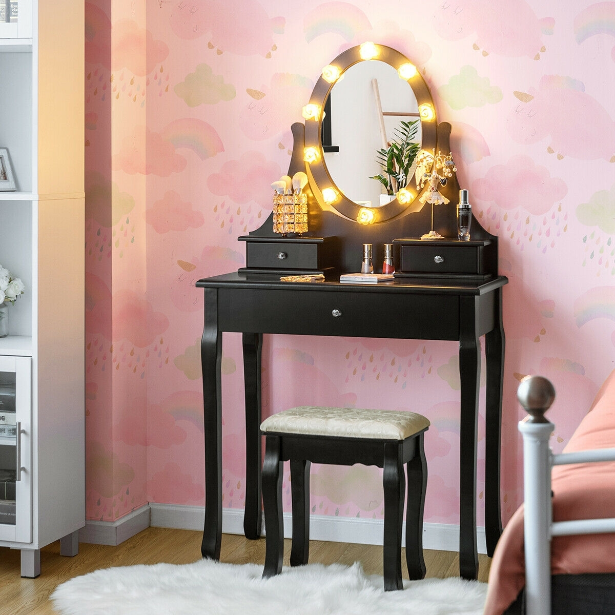 Image of 3 Drawers Lighted Mirror Vanity Dressing Table Stool Set