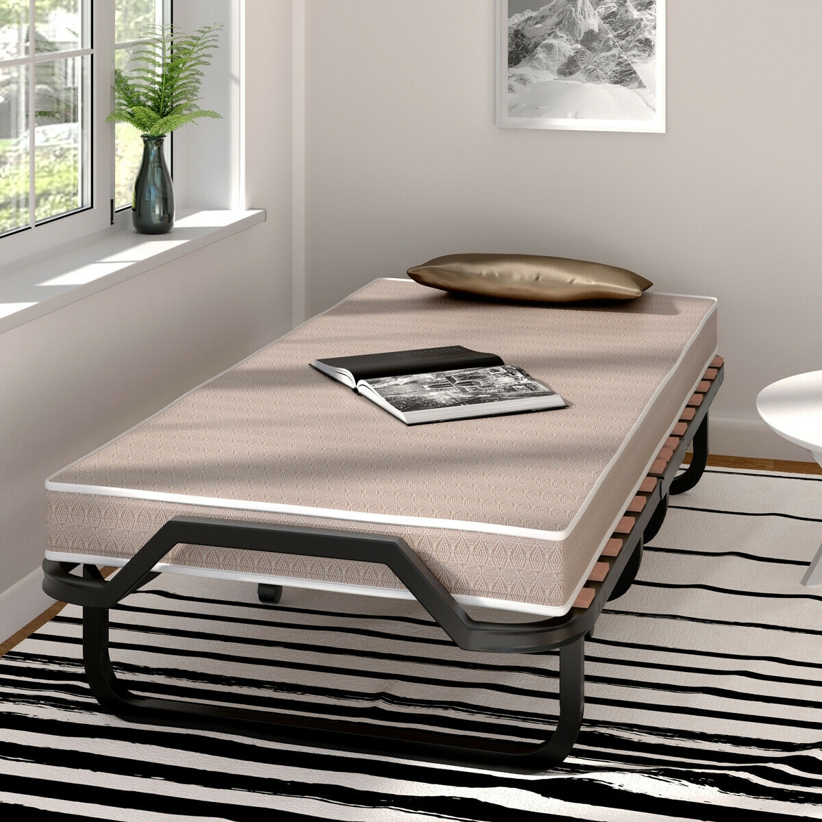 Image of Rollaway Folding Bed with Memory Foam Mattress