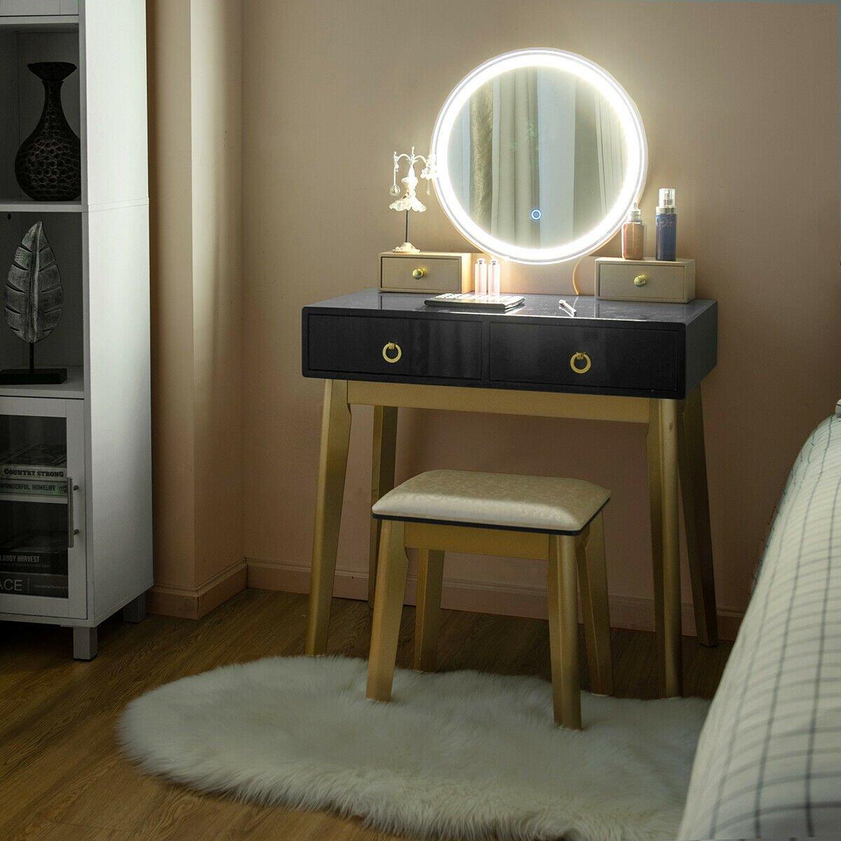 Image of Makeup Vanity Table Set 3 Color Lighting Dressing Table
