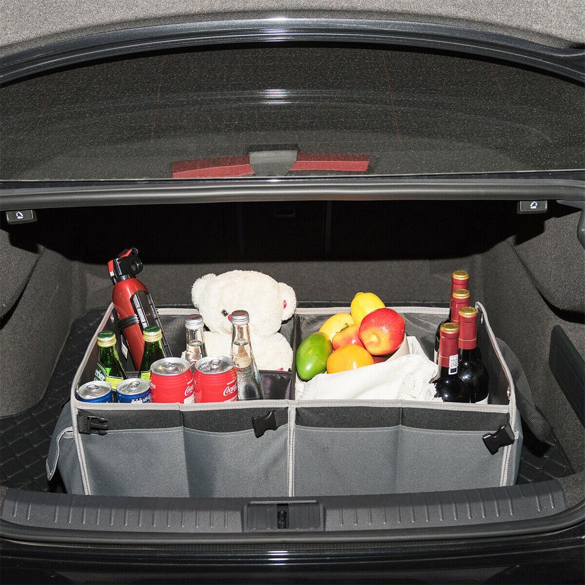 Image of Foldable Multi-compartments Cargo Storage Car Trunk Organizer