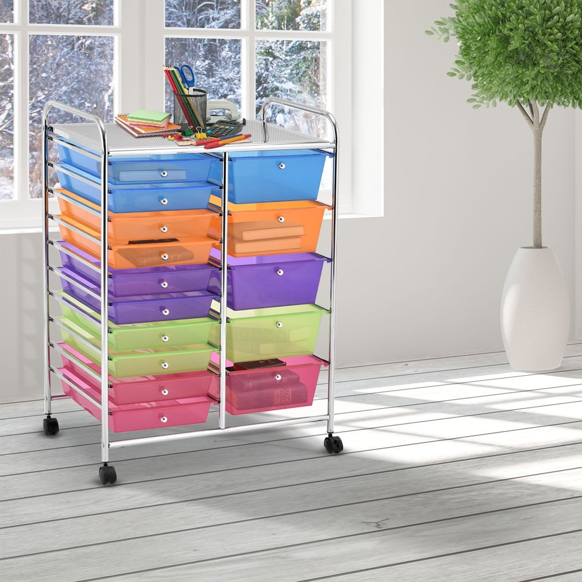 Image of 15-Drawer Utility Rolling Organizer Cart Multi-Use Storage