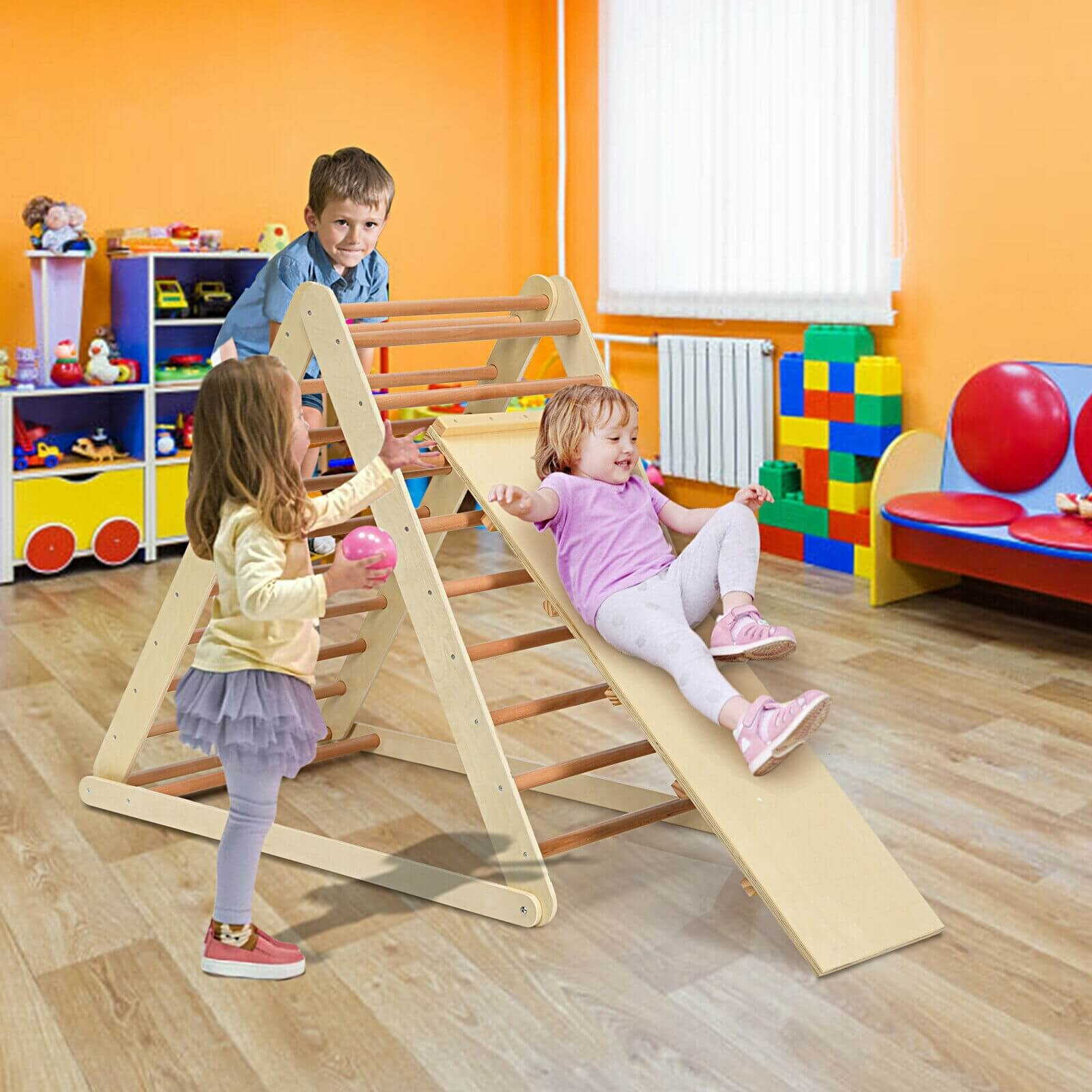 Image of Foldable Wooden Climbing Triangle Indoor with Ladder for Toddler Baby