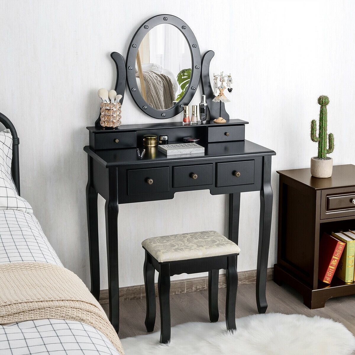 Image of 5 Drawers Vanity Table Stool Set with 12-LED Bulbs