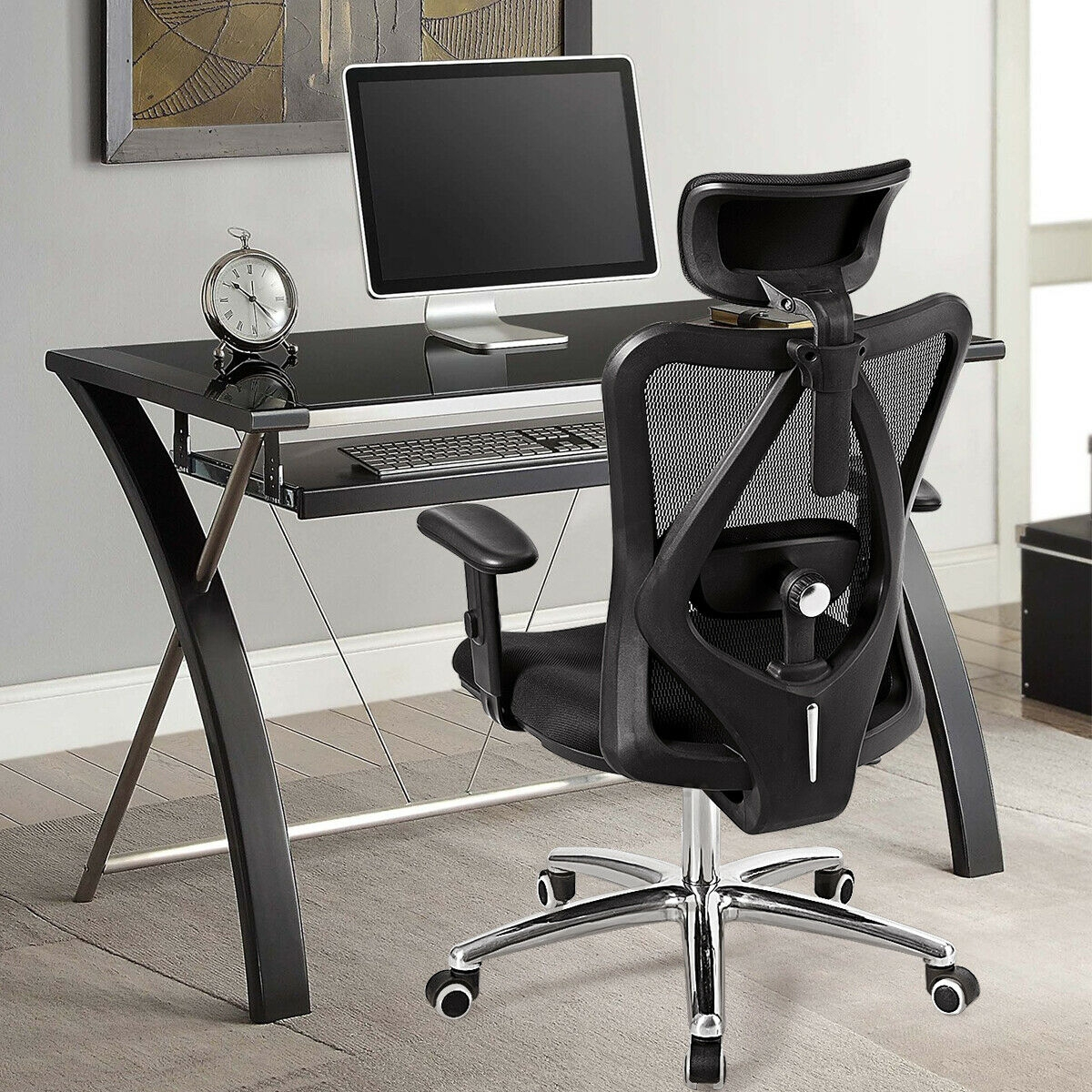 Image of Adjustable Height Mesh Swivel High Back Office Chair