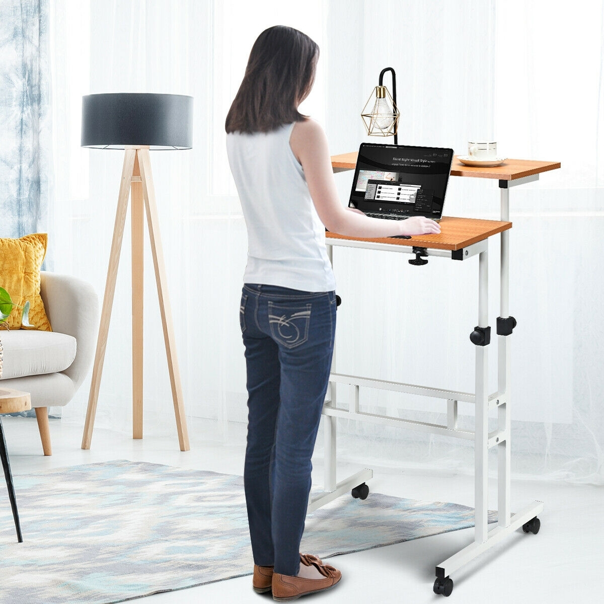 Image of 2 in 1 Height Adjustable Sit Standing Computer Desk