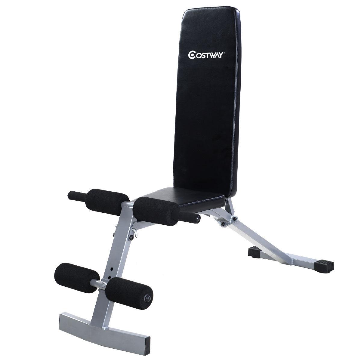 Goplus Adjustable Sit Up Bench Flat Crunch Board AB Abdominal Fitness Strength