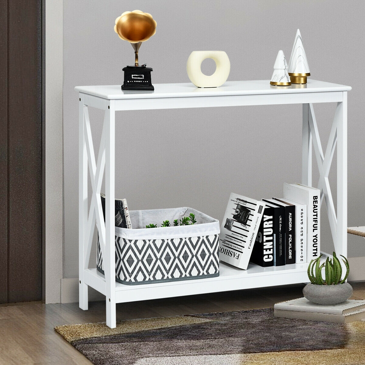 Image of 2-Tier Console X-Design Sofa Side Accent Table