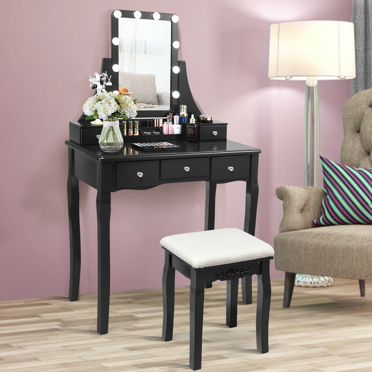 Image of 10 Dimmable Light Bulbs Vanity Dressing Table with 2 Dividers and Cushioned Stool
