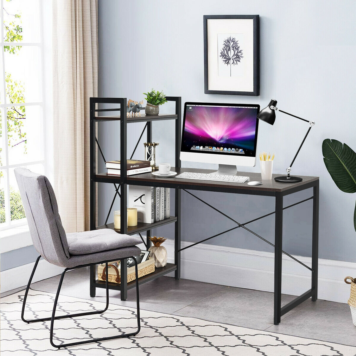"""Image of """"47.5"""""""" Writing Study Computer Desk with 4-Tier Shelves"""""""
