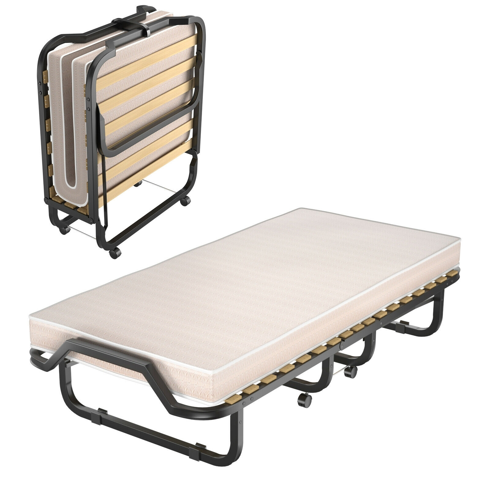 Image of Folding Rollaway Bed Extra Guest with Memory Foam Mattress