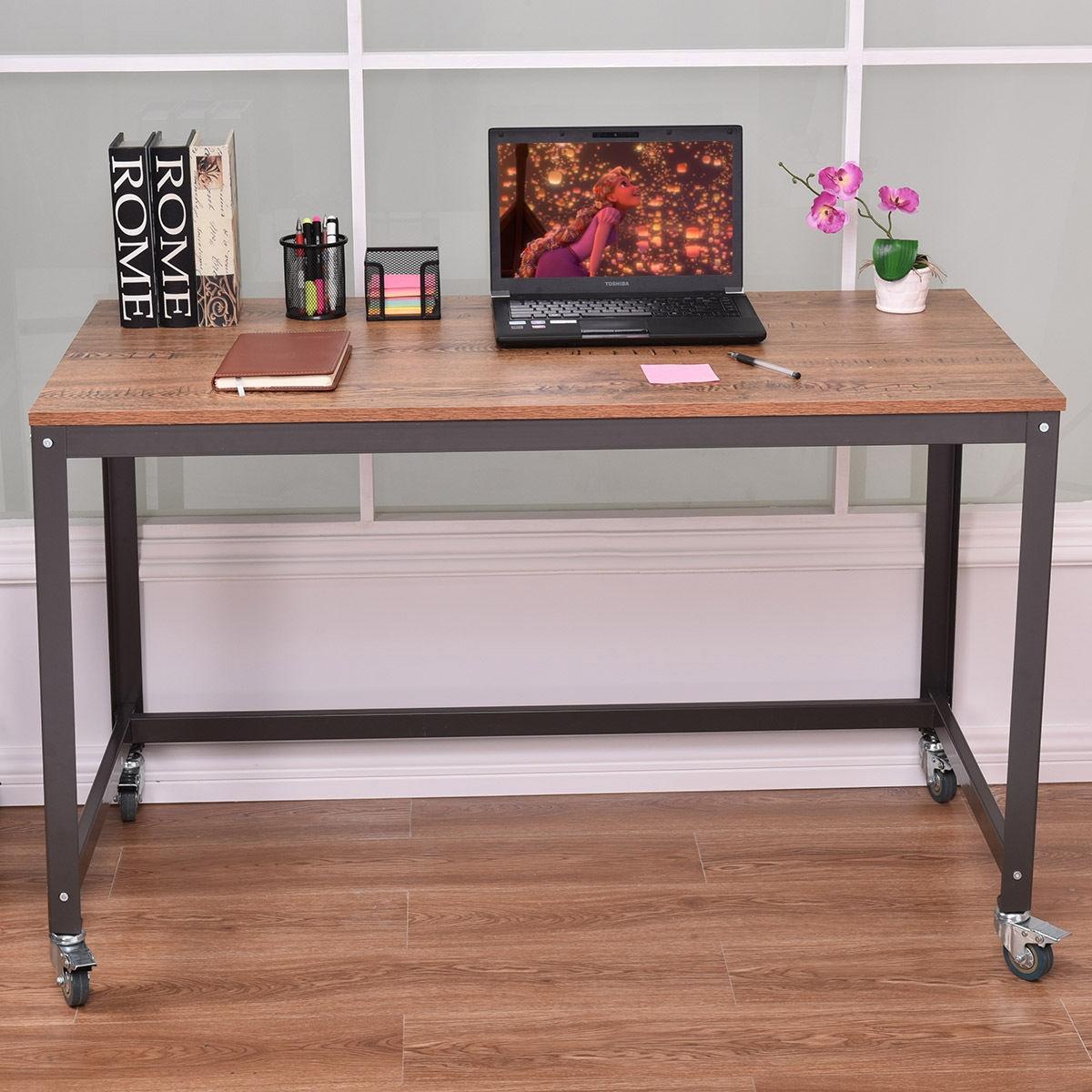 Image of Wood Top Metal Frame Rolling Computer Desk Laptop Table