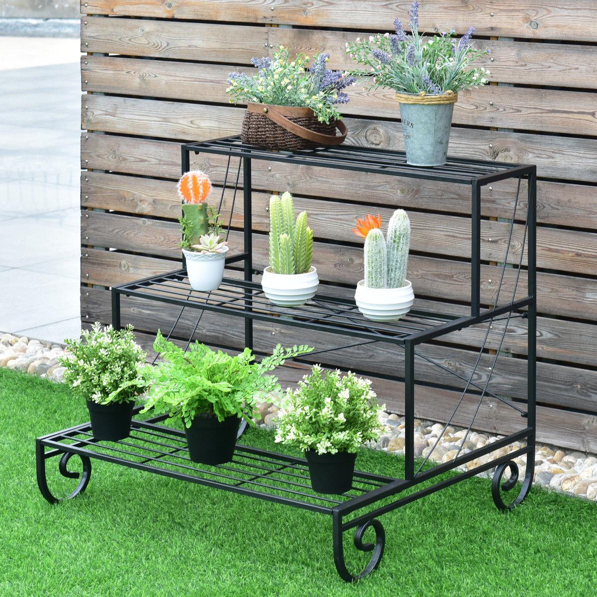 Image of 3 Tier Outdoor Metal Garden Planter Holder Shelf