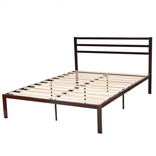 Queen Size Steel Bed Frame With Wooden, Wood Slat Bed Frame Queen