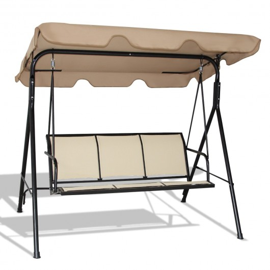 Astonishing Outdoor Patio 3 Person Porch Swing Bench Chair With Canopy Camellatalisay Diy Chair Ideas Camellatalisaycom