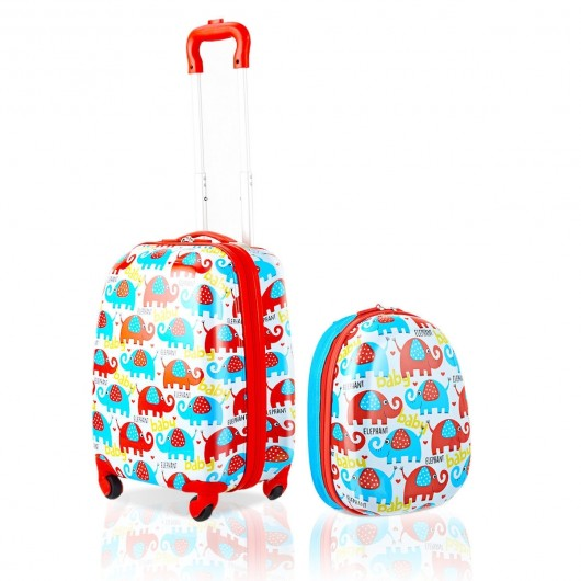 12 Square Backpack Kids Luggage Suitcase Set ABS Polycarbonate Elephant Pattern Lightweight Waterproof 2 pcs 16 Trolley Rolling Case