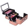 Beauty Cosmetic Makeup Case with Mirror & Extendable Trays