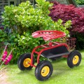 Red / Green Garden Cart with Heavy Duty Tool Tray