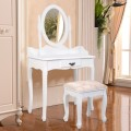 Wooden Vanity Table Set with Oval Mirror and Cushioned Stool
