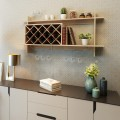 Wall Mount Wine Rack with Glass Holder & Storage Shelf