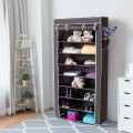 10 Tier 27 Pair Space Saving Shoe Tower Rack with Fabric Cover