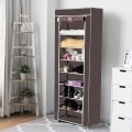 10 Tier Space Saving Shoe Tower Rack with Fabric Cover