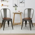 18 Inch Height Set of 4 Stackable Style Metal Wood Dining Chair
