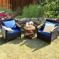 3 Pieces Solid Wood Frame Patio Rattan Furniture Set