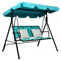 3 Person Patio Swing with Polyester Angle Adjustable Canopy and Steel Frame