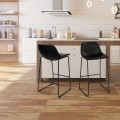 2-set PU Leather Pub Barstools Side Chairs with Backrest