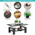Rectangular Tempered Glass Coffee Table with Shelf