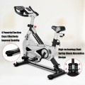 Stationary Silent Belt Adjustable Exercise Bike with Phone Holder and Electronic Display