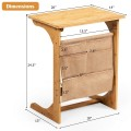 Bamboo Sofa Table End Table Bedside Table with Storage Bag