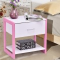 with Pink Nightstand End Table with Open Shelf