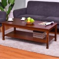Rectangular Wood Cocktail Coffee Table with Shelf