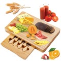 5 pcs Cheese Stainless Steel Knife  Bamboo Cutting Board Set