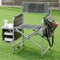 Folding Compact Director's Chair with Cup Holder and Side Table