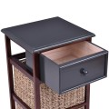 3 Tiers Wood Nightstand with 1 Drawer and 2 Baskets