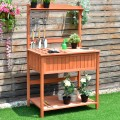 Outdoor Wooden Planting Potting Workstation Table
