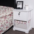 2 Tiers Wood Night Stand with Basket Drawer