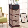 4 Tiers Wood Nightstand w/ 1 Drawer and 3 Baskets