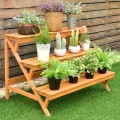 3 Tiers Wooden Step Ladder Plant Pot Rack Stand