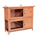 """48"""" Wooden Outdoor Rabbit House Hutch with Ladder"""