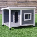 Wooden Pet Dog House w/ Shelter