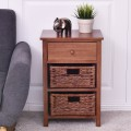 3 Tiers Wood Nightstand w/ 1 Drawer and 2 Basket