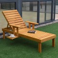 Patio Side Deck Wood Chaise Sun Lounger