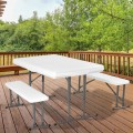 White Outdoor Picnic Folding Table and Bench Set